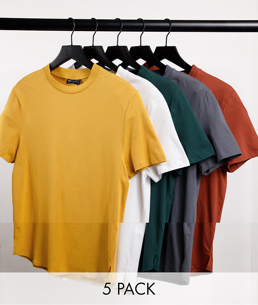 ASOS DESIGN 5 pack longline t-shirt with side splits-Multi