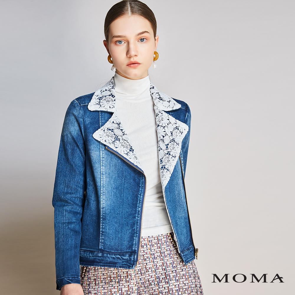 MOMA(01J016)蕾絲翻領丹寧外套