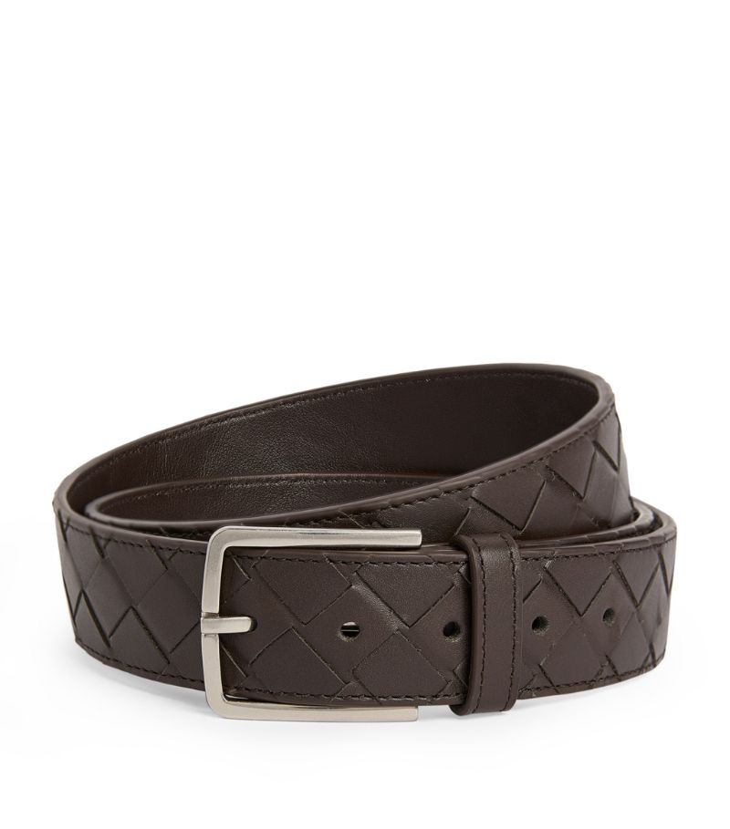Bottega Veneta Leather Intrecciato Belt