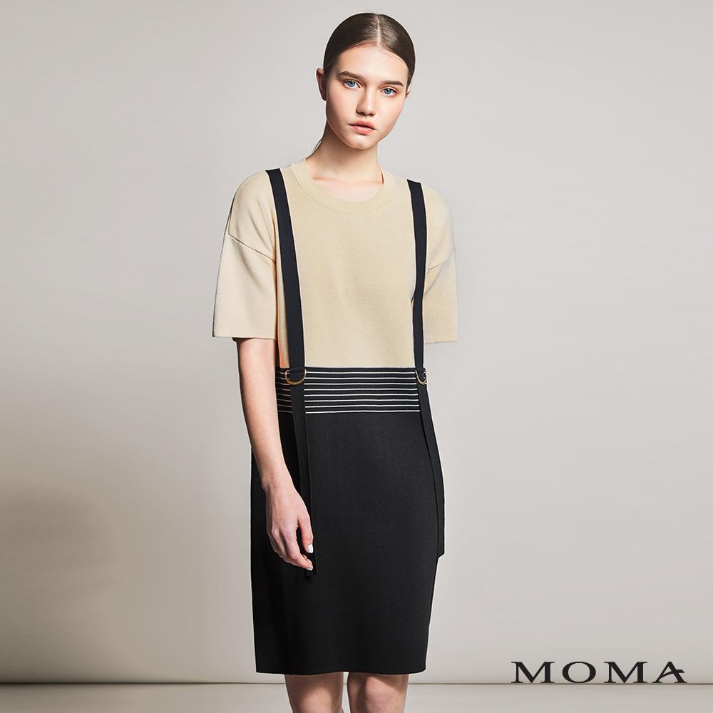 MOMA(01KD04)條紋雙色拼接針織洋裝