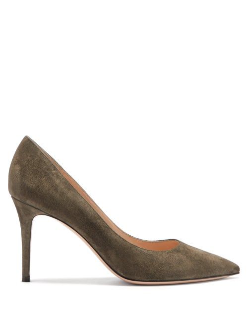 Gianvito Rossi - Gianvito 85 Point-toe Suede Pumps - Womens - Khaki