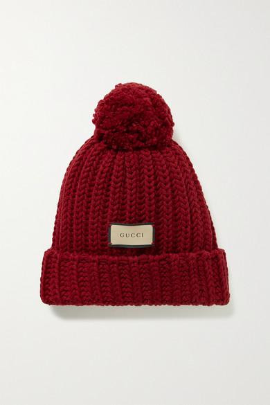 Gucci - 绒球缀饰罗纹羊毛毛线帽 - 深紫红色 - S