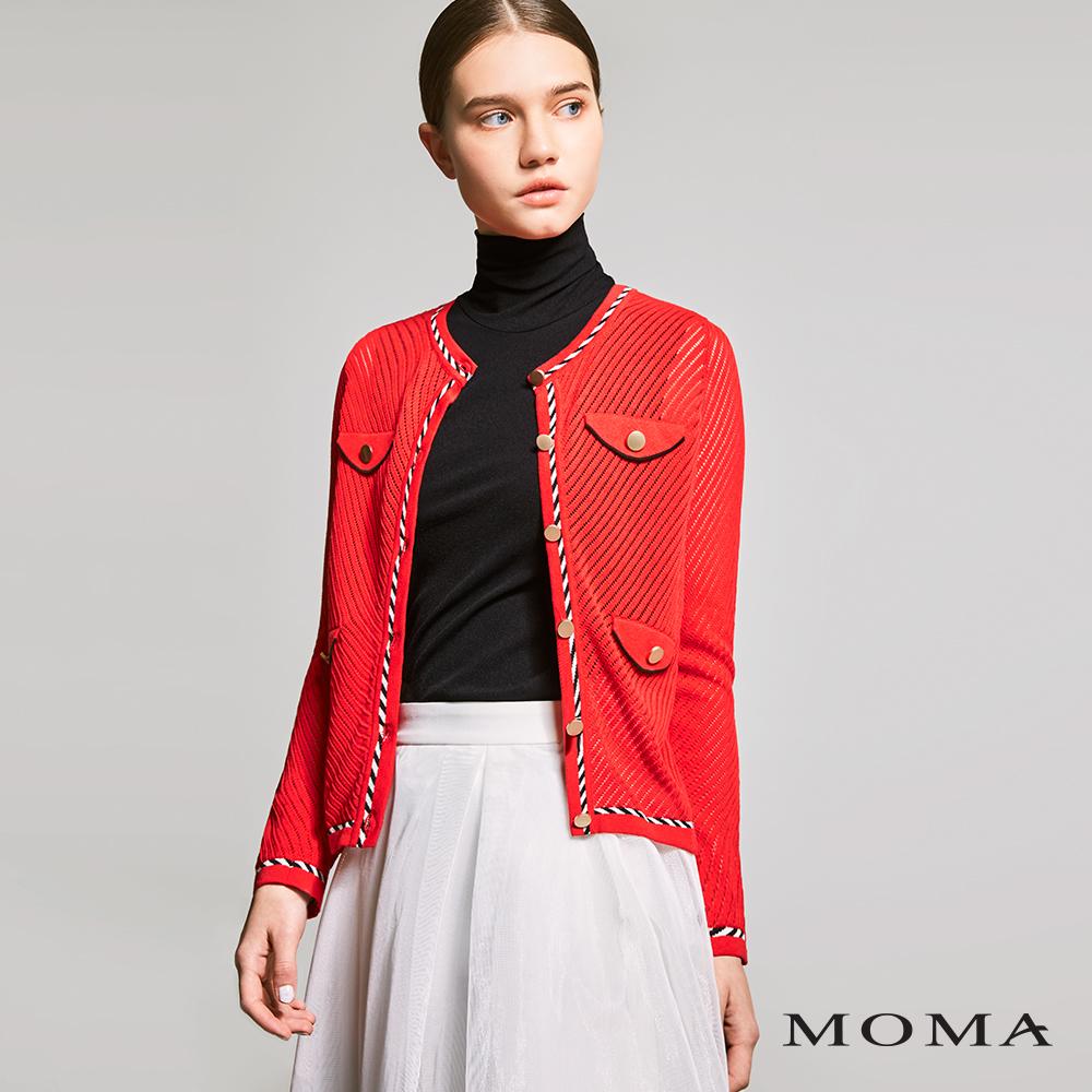 MOMA(01KJ09)斜紋金釦針織外套