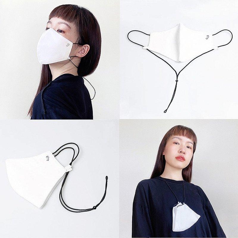 時尚的布面罩,頸帶,白色,黑色錶帶