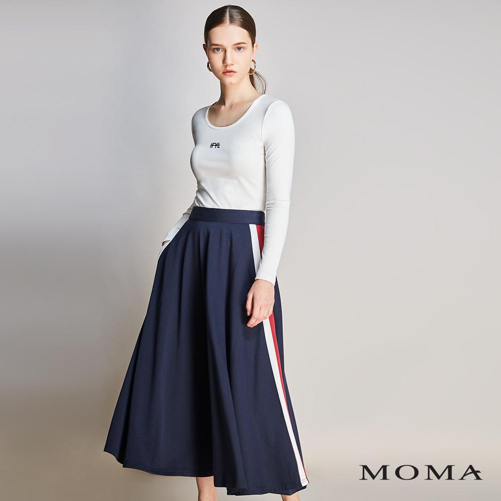 MOMA(01S029)撞色邊條傘狀裙