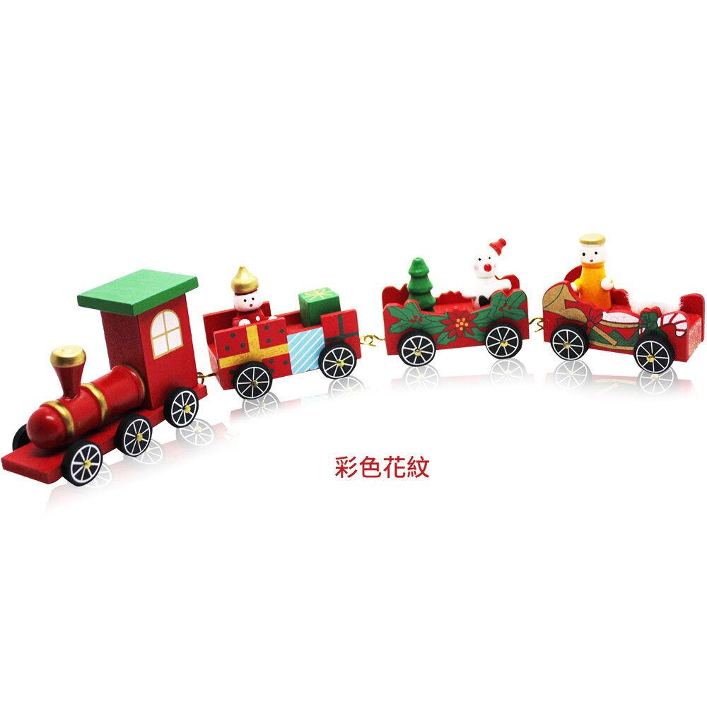 O'Pretty 歐沛媞 聖誕木質小火車-彩色花紋款(32x3.5x7.5cm)-耶誕新年交換禮物