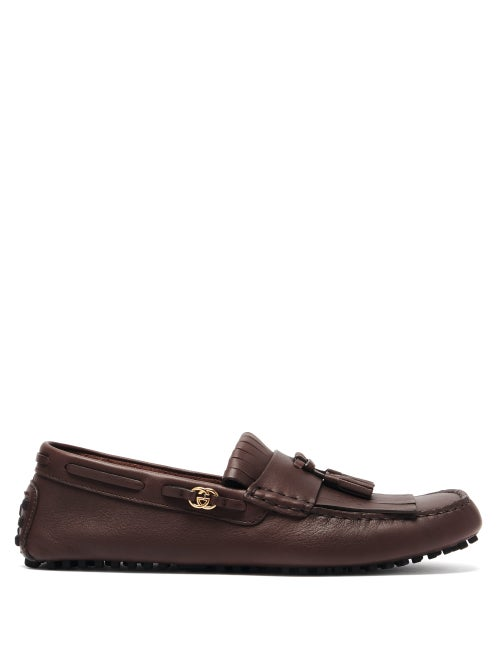 Gucci - Ayrton Fringed Leather Driving Loafers - Mens - Brown
