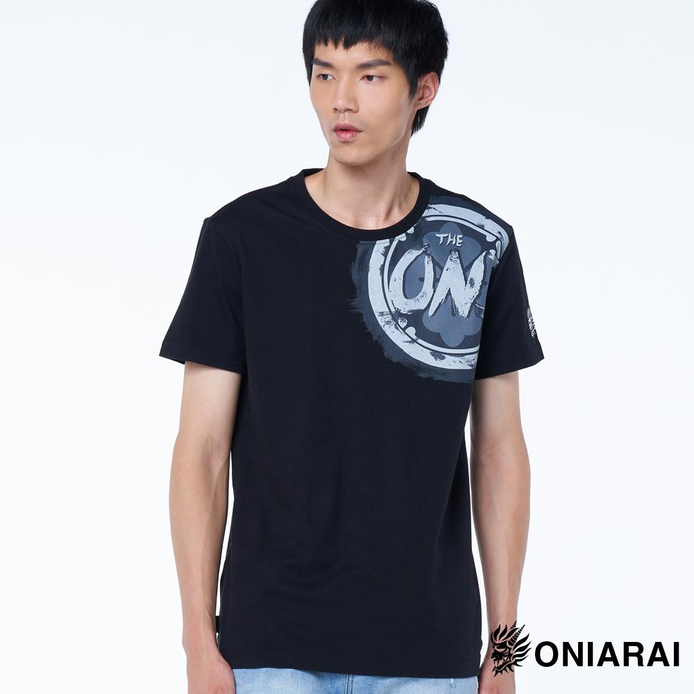 【6折限定】THE ONI懷舊感印花短TEE(黑) - BLUE WAY 鬼洗い