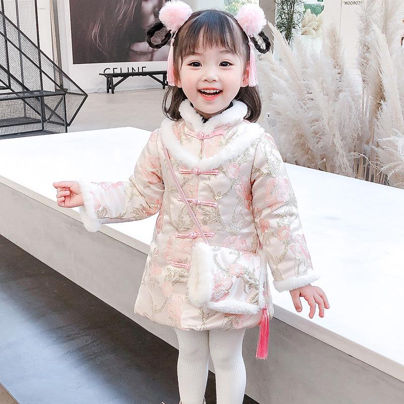 2021童裝新款 女童中國風牡丹刺綉旗袍年服冬唐裝漢服加厚過年喜慶衣服新年裝潮