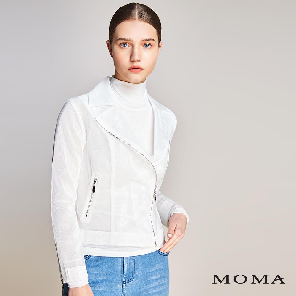 MOMA(01J009)亮澤網紗騎士外套
