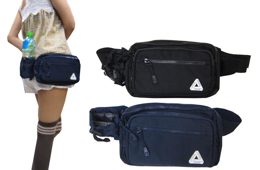 腰包大容量收納水瓶網袋主袋+外袋共五層工作運動隨身品防水尼龍布可腰肩斜背