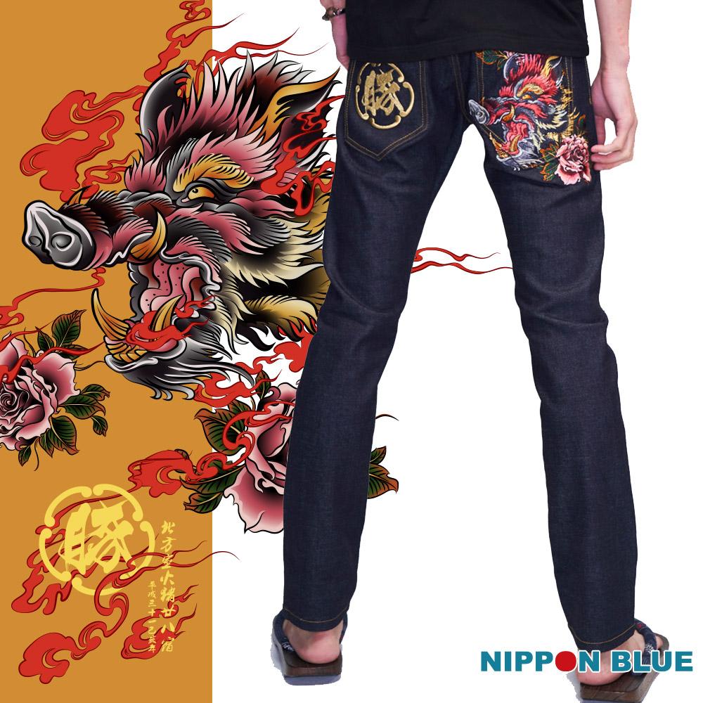 【9折限定】 室火豬精繡小直筒牛仔褲 - BLUE WAY 日本藍
