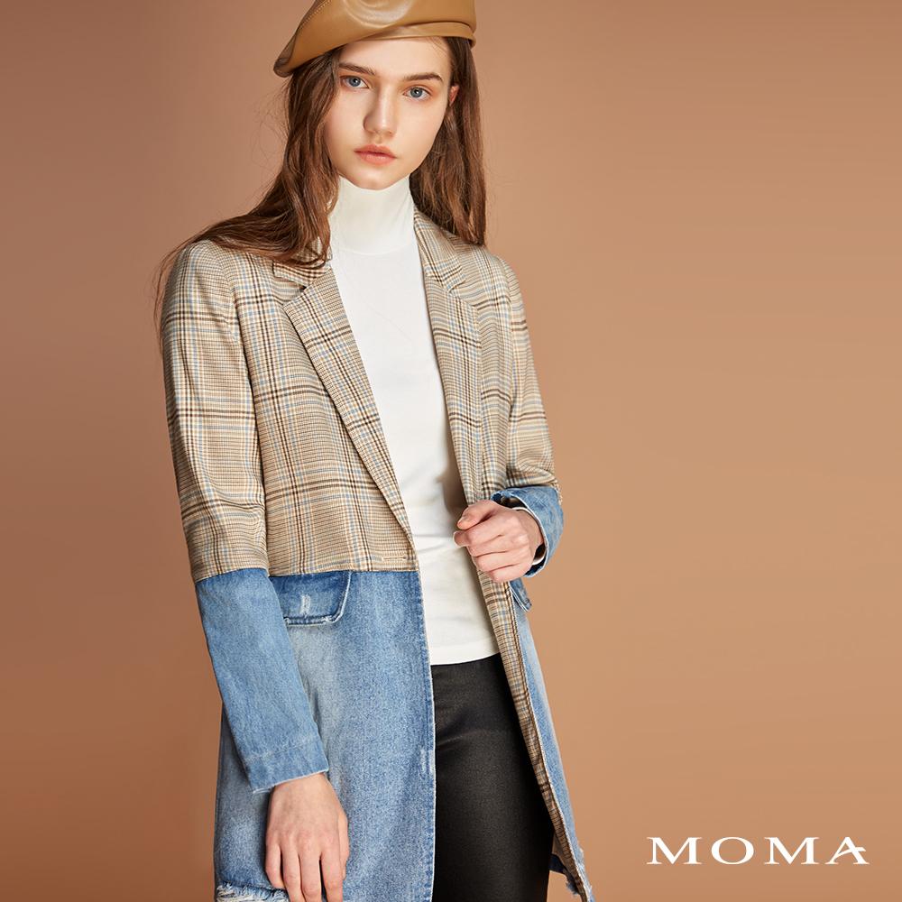 MOMA(01J057)格紋拼接牛仔長版外套