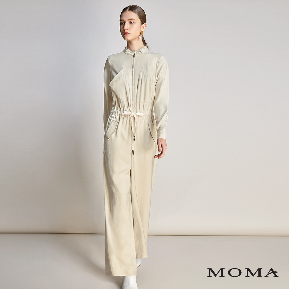 MOMA(01P027)斜口袋連身寬褲