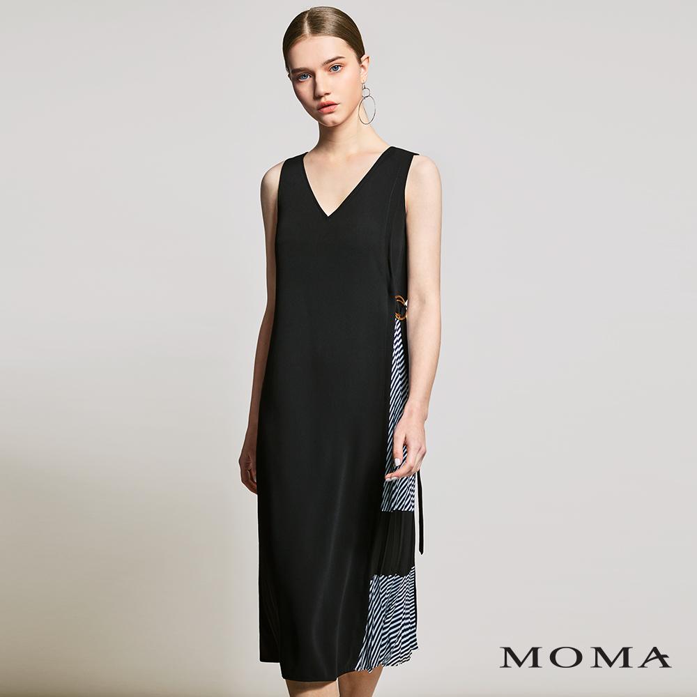 MOMA(01D019)藍白條側拼接洋裝