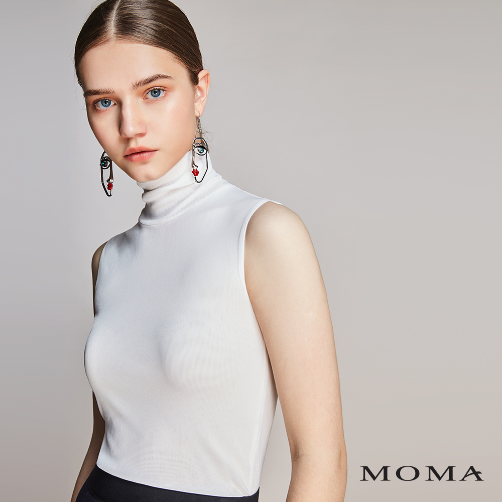 MOMA(01M026)絲襪布高領無袖背心