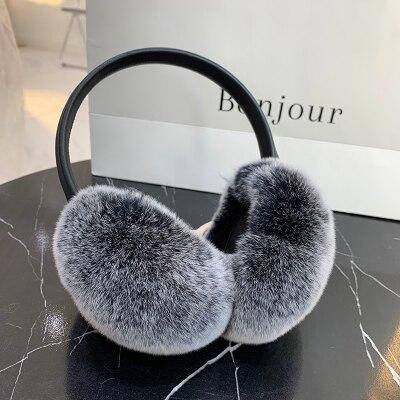 韓國ins獺兔毛耳罩女秋冬保暖耳套耳包簡約真皮草耳捂耳暖可伸縮『xxs9324』