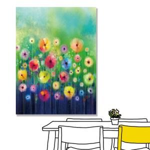 【24mama掛畫】單聯式 油畫布 無框畫30x40cm-雛菊花園02油畫布無時鐘