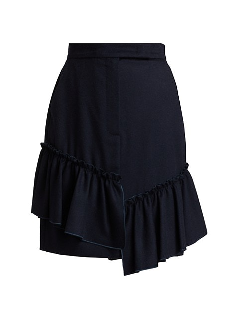 Asymmetric Camel Wool Ruffle Skirt