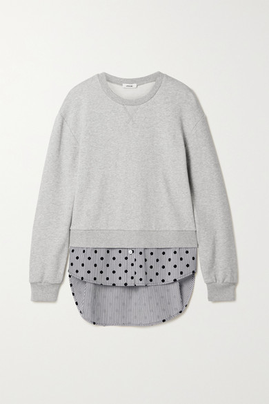 Jason Wu - 分层式棉质混纺平纹布植绒条纹纯棉府绸上衣 - 灰色 - large