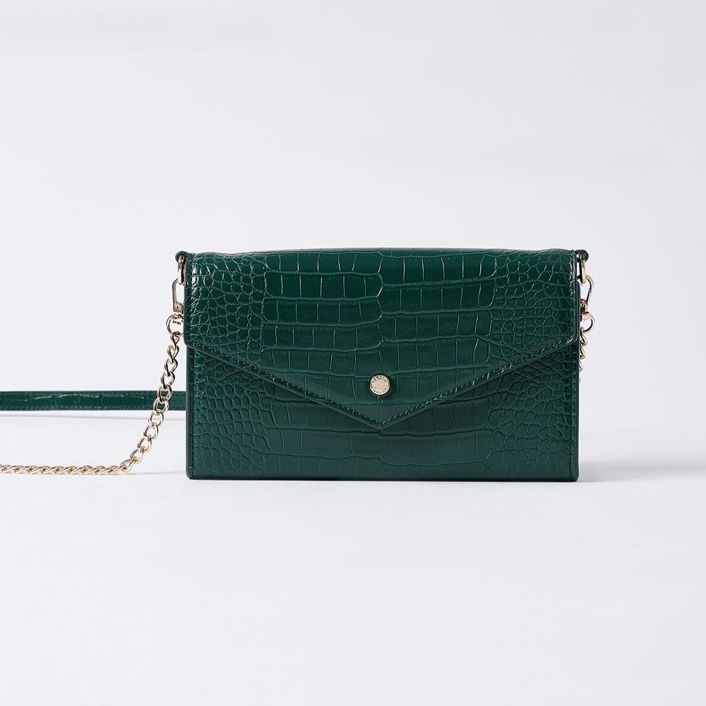【VEMAR】率性鍊帶鱷魚手機包(孔雀綠)
