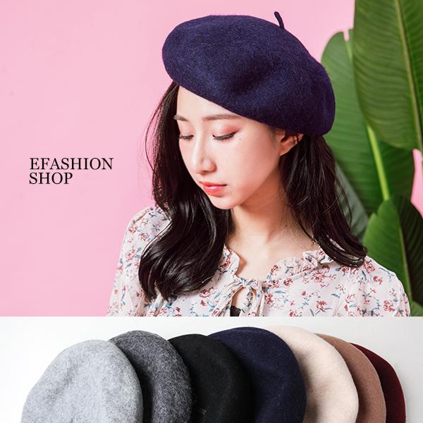 ★秋冬現貨★貝蕾帽-復古氣息混羊毛挺版貝蕾帽-eFashion【L16586001】