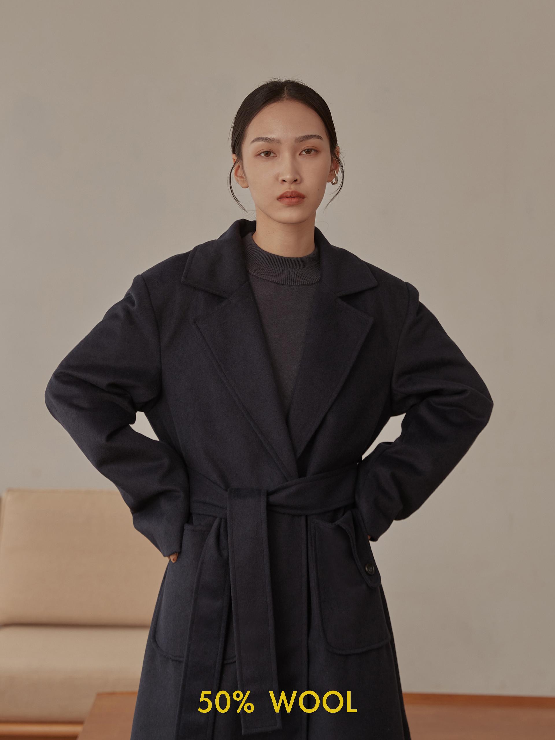 羊毛混紡長版大衣(附腰帶)-mouggan