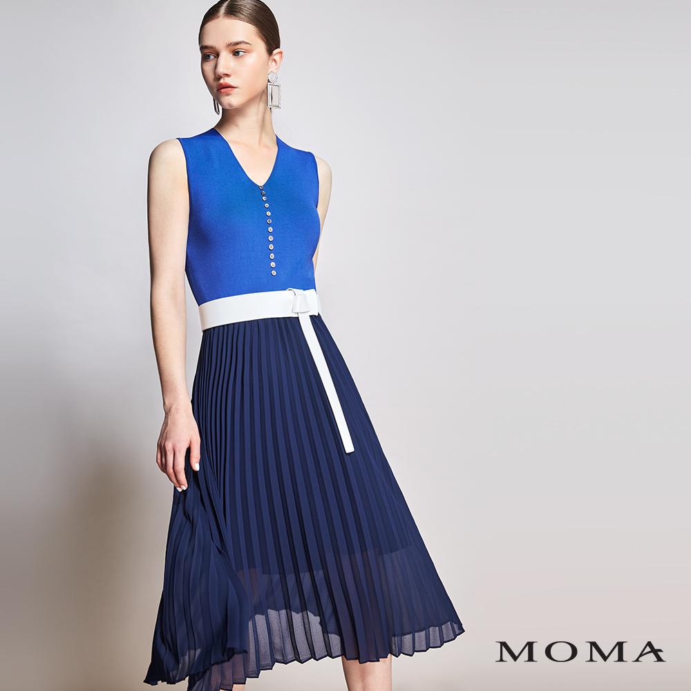 MOMA(01KD02)針織拼接壓褶洋裝