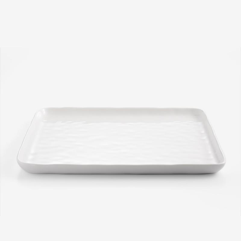 日式 淨白波紋 25cm 陶瓷方盤|單品