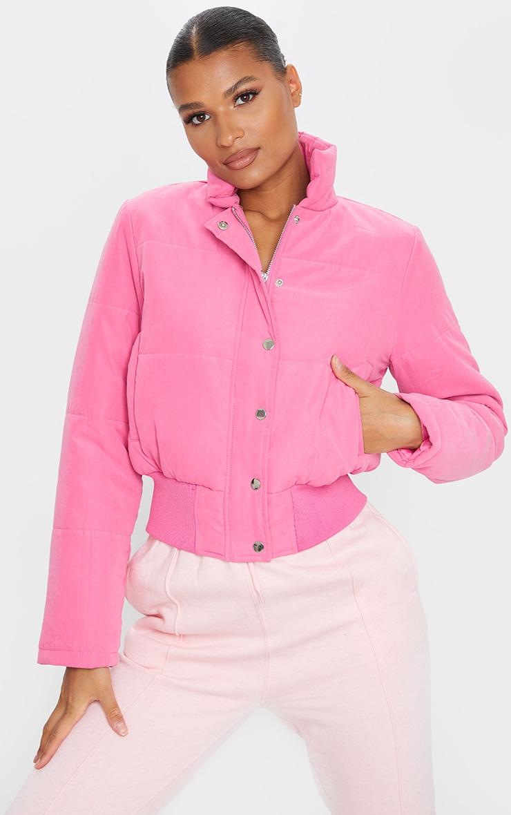 Pink Peach Skin Cropped Puffer Jacket