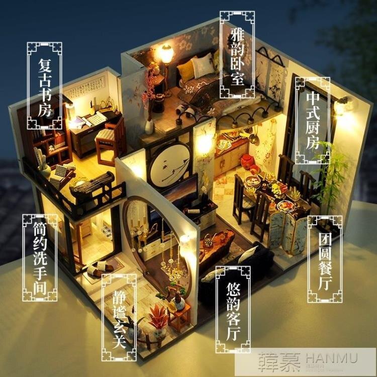 台灣現貨 中國風diy小屋手工製作房子模型古風拼裝畢業季生日禮物送女生男 新年鉅惠