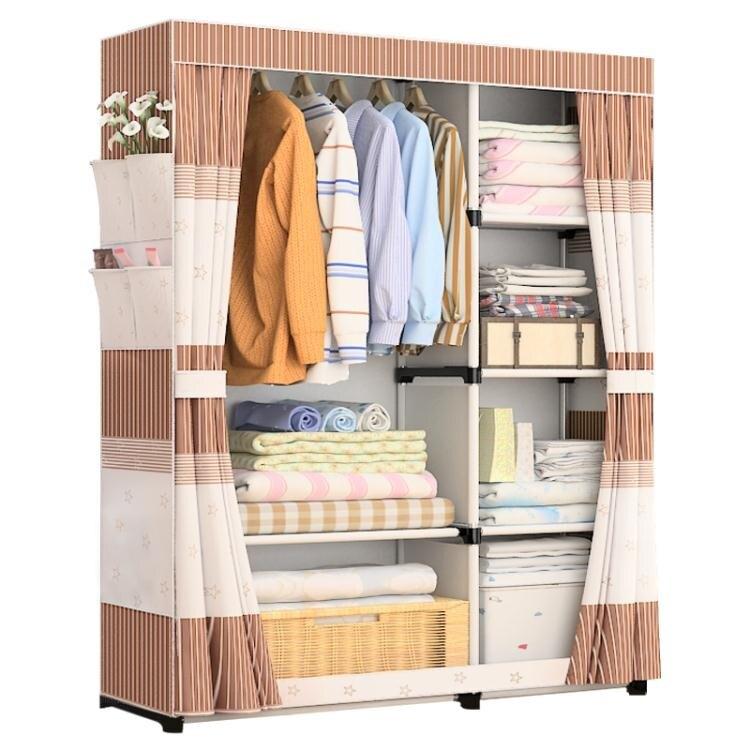 台灣現貨 簡易衣櫃經濟型布藝組裝布衣櫃鋼管加固鋼架收納櫃子衣櫥簡約現代 NMS 全館免運 新年鉅惠