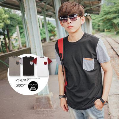 【N9627J】 口袋皮標素面接袖圓領短T(JJ6708)