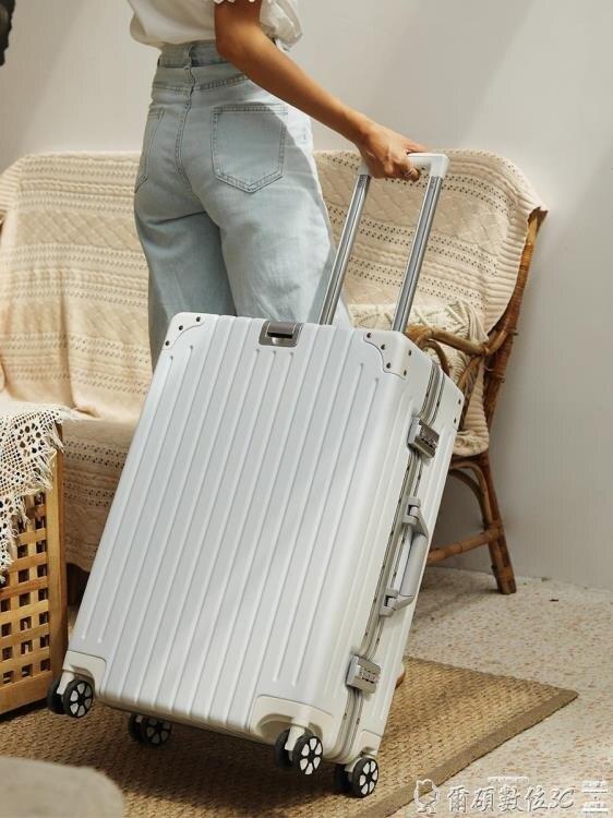 台灣現貨 行李箱 鋁框行李箱20拉桿箱大學生旅行箱白色防刮箱潮男女24寸萬向輪網紅 新年鉅惠