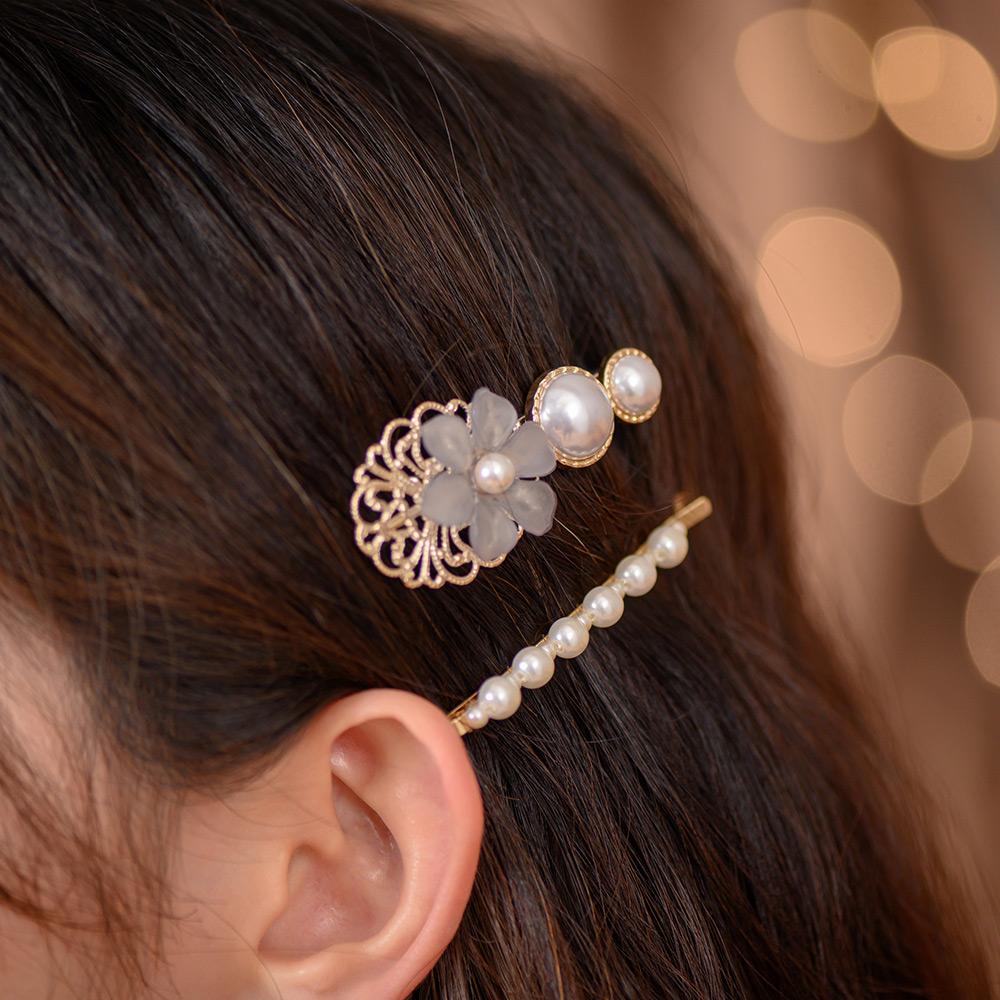 典雅鏤空晶透花朵珍珠二件組髮夾-G10032