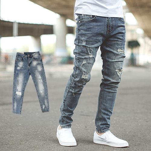 【NB0535J】韓國製洗舊刷色抓破抽鬚合身版牛仔褲(PA-PA705)
