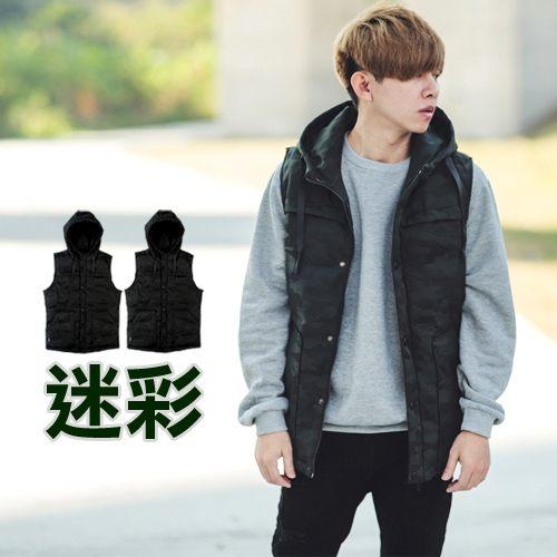 【NB0395J】韓國製Outdoor迷彩高磅厚鋪棉連帽背心 外套(LE-A07)