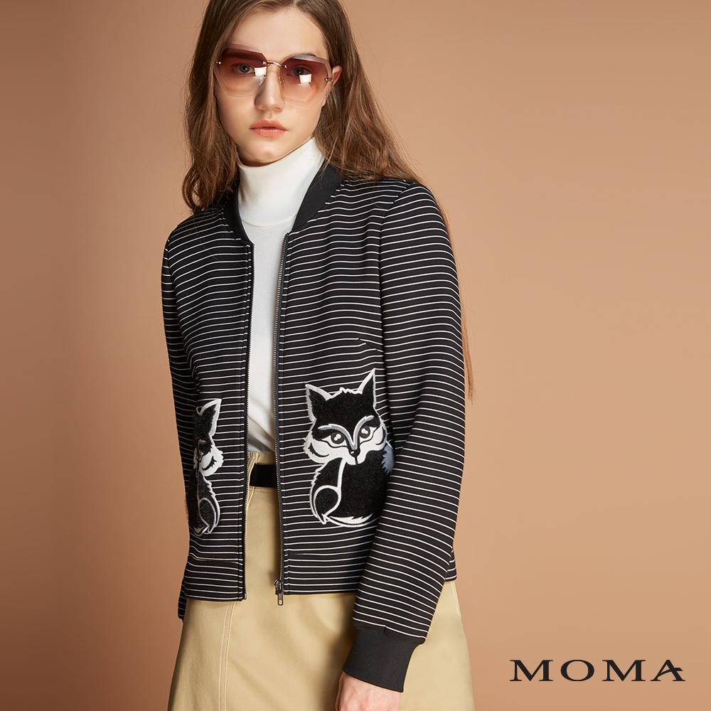 MOMA(01J056)狐狸條紋空氣棉外套