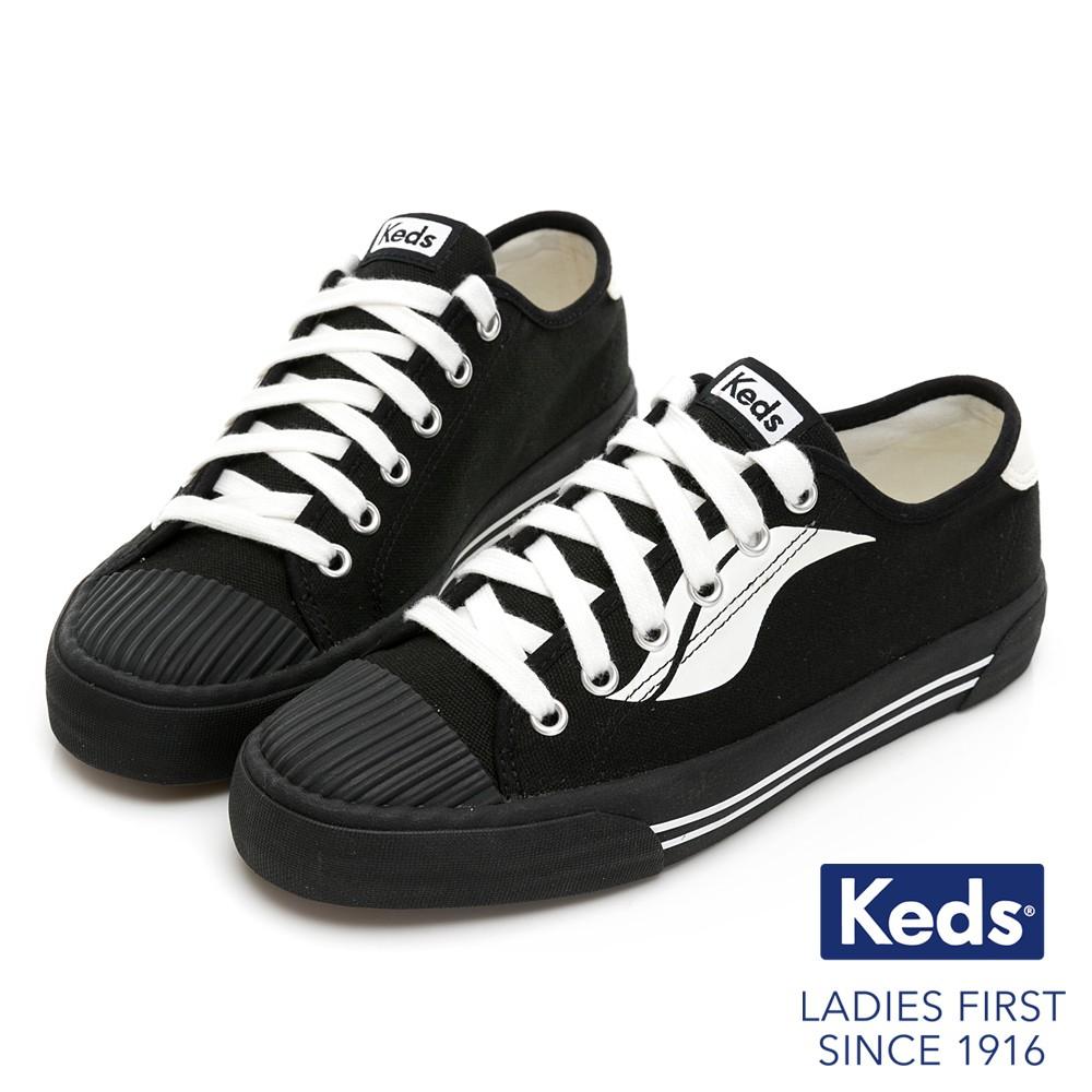 Keds CREW KICK 撞色Logo綁帶帆布鞋-黑