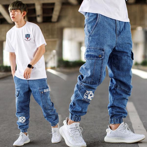 【NB0865J】韓國製BKLB重磅牛仔褲寬版縮口褲工裝褲 (LE-PA117)