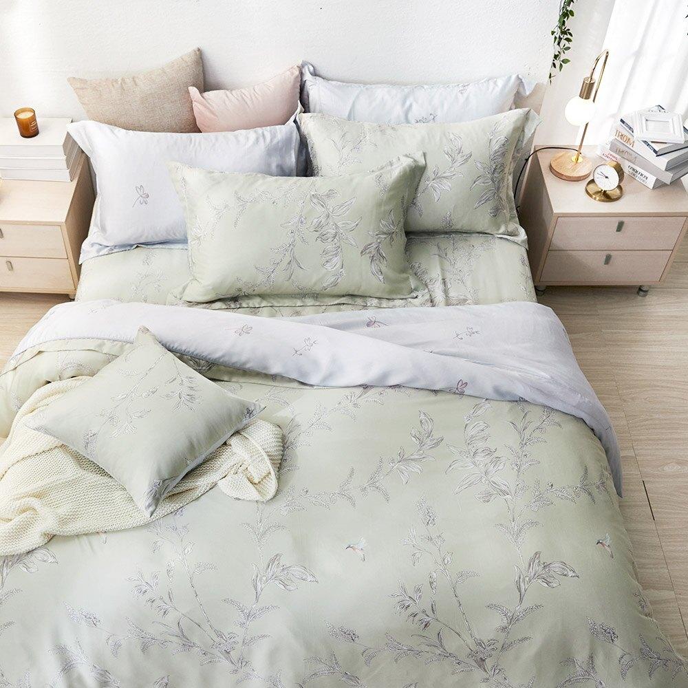 床包被套組-雙人/加大/ 60支萊賽爾天絲 / 御茶凝香 台灣製