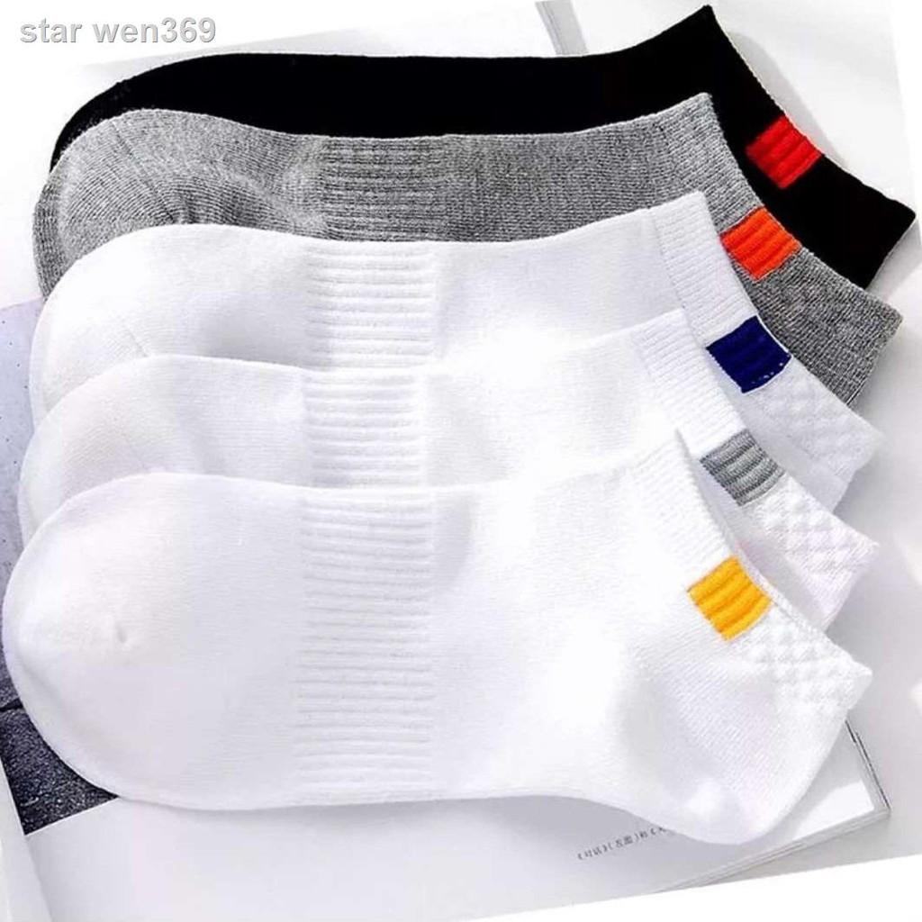 ❈﹍☏【5/10雙】襪子男士春夏款潮流運動純色短隱形船襪吸汗長筒中筒襪