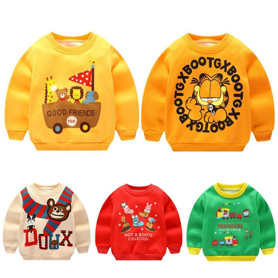 童裝 新款兒童純棉長袖上衣 內刷毛卡通圓領長袖上衣 加絨兒童上衣 男童女童長袖上衣 發熱衣長袖上衣