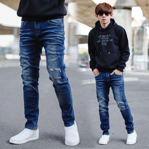 【NB0721J】韓國製深藍刷色小刷破合身牛仔褲 (PA-PA176)