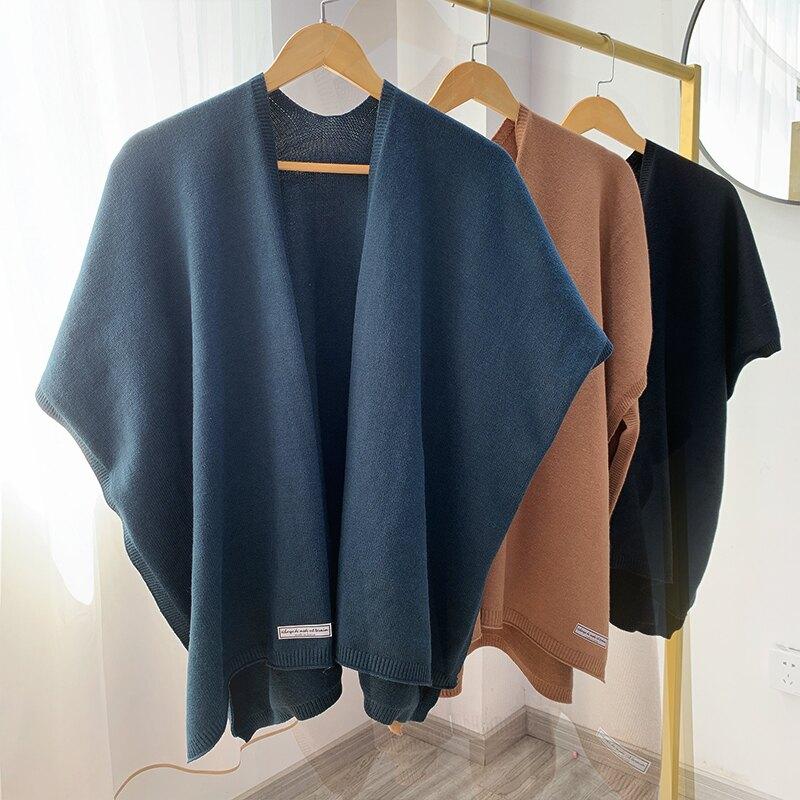 小披肩 秋冬季可穿正韓坎肩保暖加厚外搭針織毛線披肩假領圍巾女斗篷披風『CM41560』