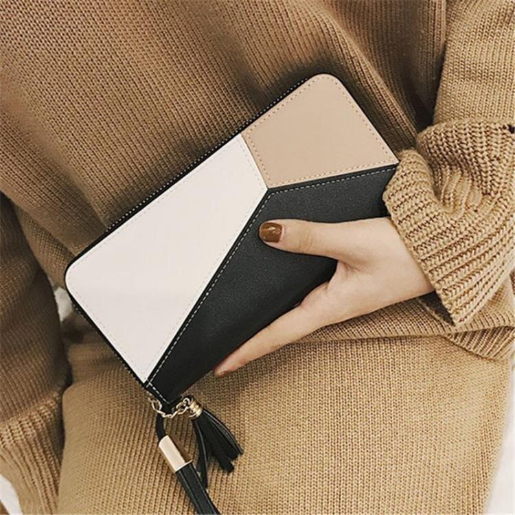 限時85折!限時搶購!韓版時尚女士錢包長款 手拿包簡約撞色拼接錢夾女 手機包
