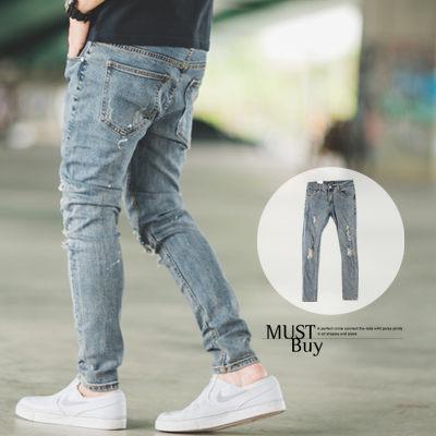 【N9974J】復古刷色潑漆破壞抓破窄管牛仔褲 (LE-KR8633)