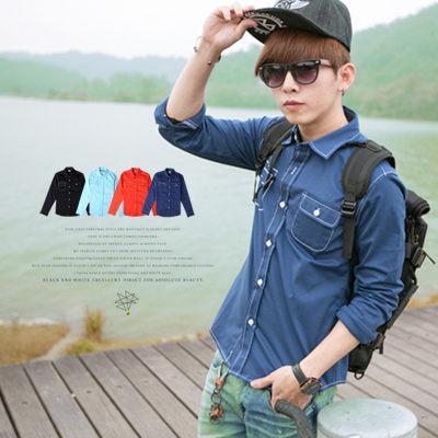【N8157J】韓系立體感白色繡線造型挺版長袖襯衫(Gar6146)