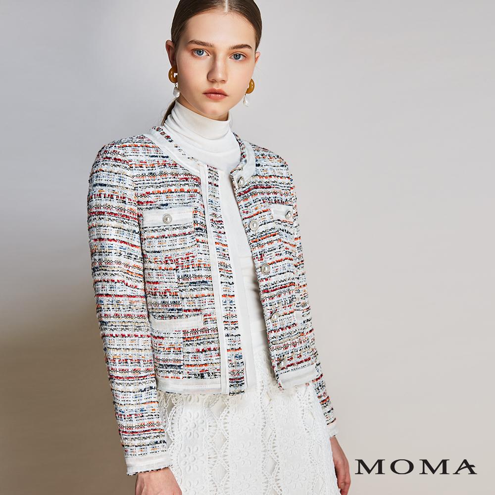 MOMA(01J038)毛呢織紋珍珠釦外套