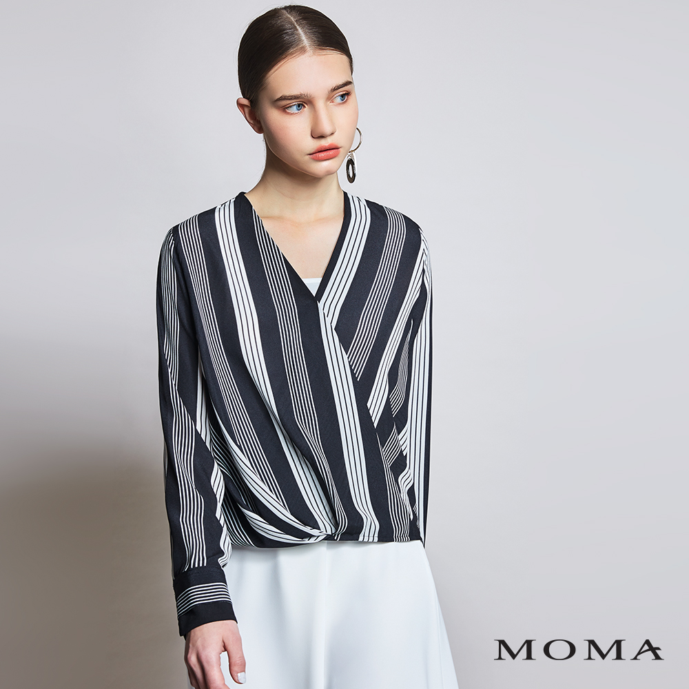 MOMA(01G056)交叉前襟條紋平織上衣
